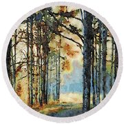 Fall Forest Watercolor Round Beach Towel