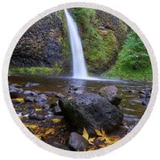 Fall Gorge Round Beach Towel by Jonathan Davison