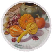 Fall Harvest #5 Round Beach Towel