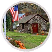 Round Beach Towel featuring the photograph Fall Harvest - Rural America by DJ Florek