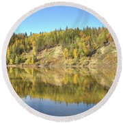 Fall Hues On The North Saskatchewan River Round Beach Towel