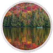 Fall In A Canoe Round Beach Towel