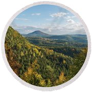 Fall In Bohemian Switzerland Round Beach Towel