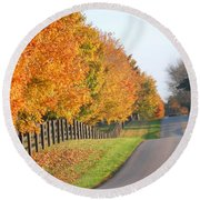 Fall In Horse Farm Country Round Beach Towel