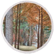 Fall In Korea Round Beach Towel