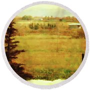 Fall In My Backyard Round Beach Towel