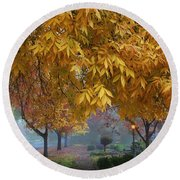 Fall In My Hometown Round Beach Towel