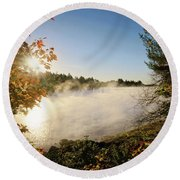 Fall In New England Round Beach Towel