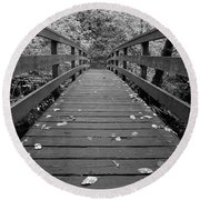 Fall In Oregon Bw Round Beach Towel by Jonathan Davison