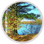 Round Beach Towel featuring the photograph Fall In Phillips Wi by Randy Rosenberger