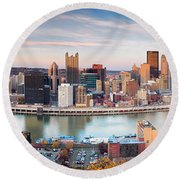 Fall In Pittsburgh  Round Beach Towel