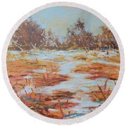 Fall In Provence Round Beach Towel