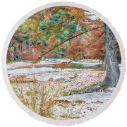 Fall In Texas Hills Round Beach Towel