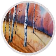 Fall In The Birches Round Beach Towel