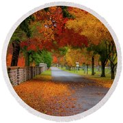 Fall In The Cemetery Round Beach Towel