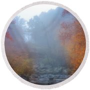 Fall In The Fog Round Beach Towel