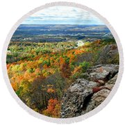 Round Beach Towel featuring the photograph Fall In The Mountains by Kathy Baccari