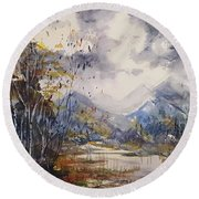 Round Beach Towel featuring the painting Fall In The Mountains by Reed Novotny