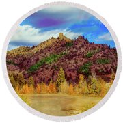 Fall In The Oregon Owyhee Canyonlands  Round Beach Towel by Robert Bales