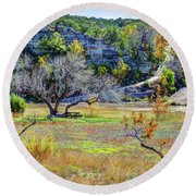Fall In The Texas Hill Country Round Beach Towel