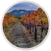 Round Beach Towel featuring the pastel Fall In Wine Country by Bill Gallagher