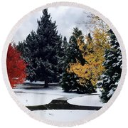 Fall Into Winter Round Beach Towel by Russell Keating