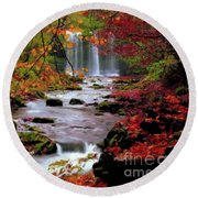 Fall It's Here Round Beach Towel