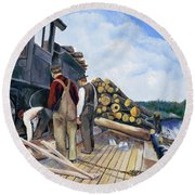 Fall Lake Train Round Beach Towel
