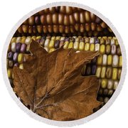 Fall Leaf And Indian Corn Round Beach Towel