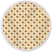 Fall Leaves Light Pattern Round Beach Towel