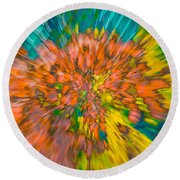 Fall Leaves Zoom Abstract Round Beach Towel