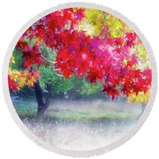 Fall Light Round Beach Towel by Adria Trail