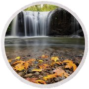 Fall Maple Leaves At Hidden Falls Round Beach Towel