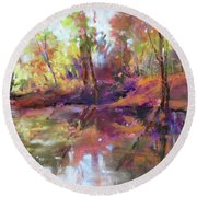 Fall Millpond Round Beach Towel
