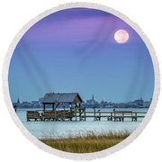 Fall Moon And King Tide - Charleston Sc Round Beach Towel