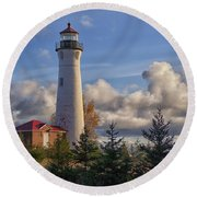 Fall Morning At Crisp Point Round Beach Towel