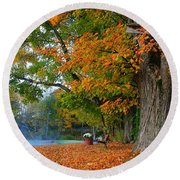 Fall Morning In Jackson Round Beach Towel