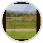 Fall Mountains Through The Window  Round Beach Towel