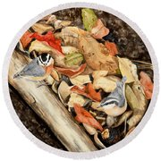 Fall Nuthatch Pair Round Beach Towel