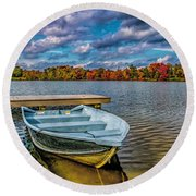 Round Beach Towel featuring the photograph Fall On Alloway Lake by Nick Zelinsky