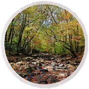 Fall On Clifty Creek Round Beach Towel