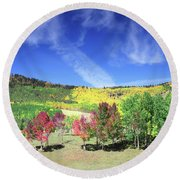 Fall On County Road 12 Round Beach Towel