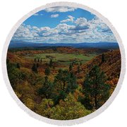 Fall On Four Mile Road Round Beach Towel