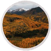 Fall On Full Display At Capitol Creek In Colorado Round Beach Towel by Jetson Nguyen