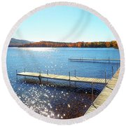 Fall On Lake Dunmore Round Beach Towel