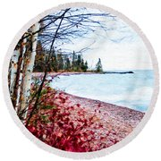 Fall On Lake Superior Round Beach Towel