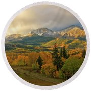 Fall On Mt Sopris  Round Beach Towel