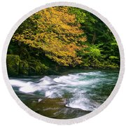 Fall On The Clackamas River, Or Round Beach Towel