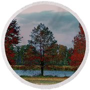 Fall On The Farm Round Beach Towel