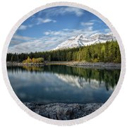 Fall On The Lake Round Beach Towel